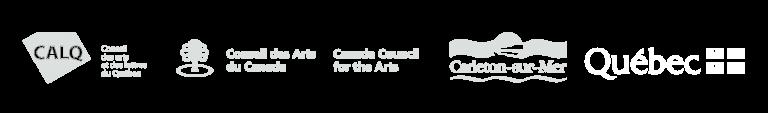 Nos partenaires : CALQ, CAC, Carleton-sur-Mer, Gouvernement du Québec